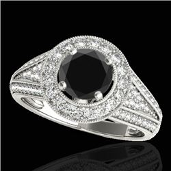 1.7 CTW Certified VS Black Diamond Solitaire Halo Ring 10K White Gold - REF-91T3M - 33970