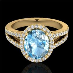 3 Sky Blue Topaz & Micro VS/SI Diamond Halo Solitaire Ring 18K Yellow Gold - REF-69F3N - 20934