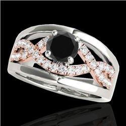 1.3 CTW Certified VS Black Diamond Solitaire Ring 10K White & Rose Gold - REF-77W3F - 35290