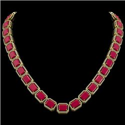 84.94 CTW Ruby & Diamond Halo Necklace 10K Yellow Gold - REF-930A2X - 41479