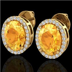 5.50 CTW Citrine & Micro VS/SI Diamond Halo Earrings 18K Yellow Gold - REF-63F3N - 20247