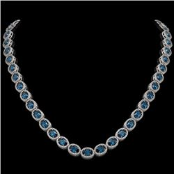 33.25 CTW London Topaz & Diamond Halo Necklace 10K White Gold - REF-511X3T - 40436
