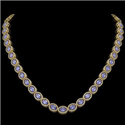 31.96 CTW Tanzanite & Diamond Halo Necklace 10K Yellow Gold - REF-604K2W - 40411