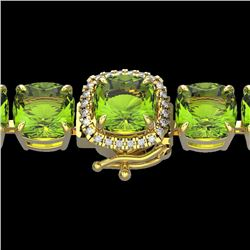 40 CTW Peridot & Micro Pave VS/SI Diamond Halo Bracelet 14K Yellow Gold - REF-259X8T - 23318