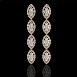 5.33 CTW Marquise Diamond Designer Earrings 18K Rose Gold - REF-986X2T - 42657