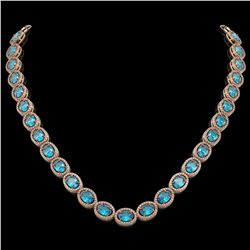 55.41 CTW Swiss Topaz & Diamond Halo Necklace 10K Rose Gold - REF-681W8F - 40587