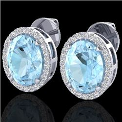 5.50 CTW Aquamarine & Micro VS/SI Diamond Halo Earrings 18K White Gold - REF-96M4H - 20240