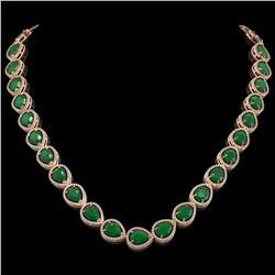 64.01 CTW Emerald & Diamond Halo Necklace 10K Rose Gold - REF-838A2X - 41187