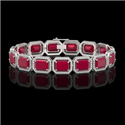 38.61 CTW Ruby & Diamond Halo Bracelet 10K White Gold - REF-424X5T - 41525