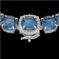 87 CTW London Blue Topaz & VS/SI Diamond Halo Micro Necklace 14K White Gold - REF-317W6F - 23367