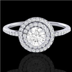 1 CTW Micro Pave VS/SI Diamond Solitaire Ring Double Halo 18K White Gold - REF-153K6W - 21614