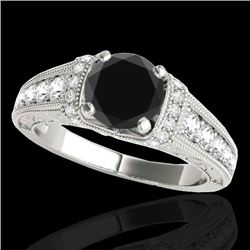 1.5 CTW Certified VS Black Diamond Solitaire Antique Ring 10K White Gold - REF-77W6F - 34777