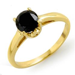 1.0 CTW VS Certified Black Diamond Solitaire Ring 14K Yellow Gold - REF-41T8M - 11795