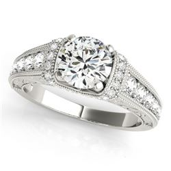 1.5 CTW Certified VS/SI Diamond Solitaire Antique Ring 18K White Gold - REF-398H8A - 27402