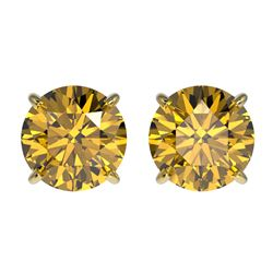 2.11 CTW Certified Intense Yellow SI Diamond Solitaire Stud Earrings 10K Yellow Gold - REF-297X2T -