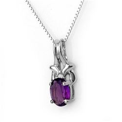0.77 CTW Amethyst & Diamond Necklace 10K White Gold - REF-11A8X - 11343