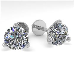 1.53 CTW Certified VS/SI Diamond Stud Earrings 14K White Gold - REF-240K3W - 30571