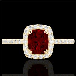 1.25 CTW Garnet & Micro Pave VS/SI Diamond Halo Ring 10K Yellow Gold - REF-33A3X - 22905