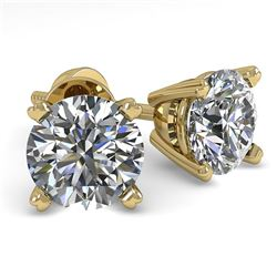 1.0 CTW VS/SI Diamond Stud Designer Earrings 14K Yellow Gold - REF-120F2N - 38354