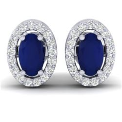 1.02 CTW Sapphire & Micro Pave VS/SI Diamond Earrings Halo 18K White Gold - REF-32Y8K - 21193