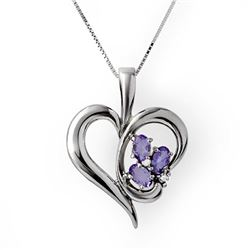 0.80 CTW Tanzanite & Diamond Pendant 10K White Gold - REF-21Y6K - 12804