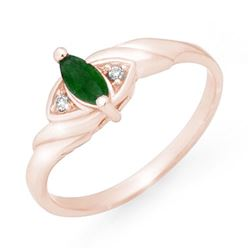 0.26 CTW Emerald & Diamond Ring 14K Rose Gold - REF-18N2Y - 12554