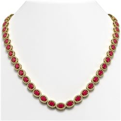 34.11 CTW Ruby & Diamond Halo Necklace 10K Yellow Gold - REF-562W9F - 40405