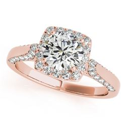 1.08 CTW Certified VS/SI Diamond Solitaire Halo Ring 18K Rose Gold - REF-140W2F - 26246