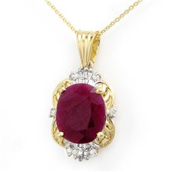 6.39 CTW Ruby & Diamond Pendant 14K Yellow Gold - REF-100H2A - 12760
