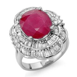 5.59 CTW Ruby & Diamond Ring 18K White Gold - REF-179T5M - 13146