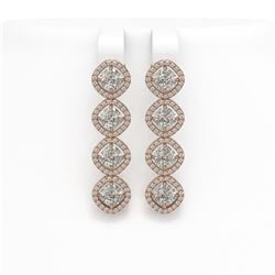 5.85 CTW Cushion Cut Diamond Designer Earrings 18K Rose Gold - REF-1090Y2K - 42864