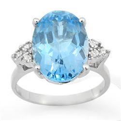6.20 CTW Blue Topaz & Diamond Ring 18K White Gold - REF-52A8X - 12857