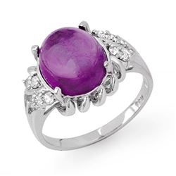 4.25 CTW Amethyst & Diamond Ring 10K White Gold - REF-31T6M - 13398