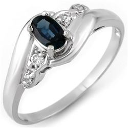 0.42 CTW Blue Sapphire & Diamond Ring 18K White Gold - REF-26H9A - 11146