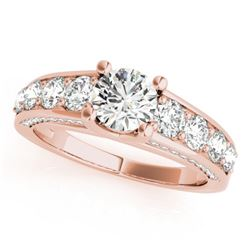 3.05 CTW Certified VS/SI Diamond Solitaire Ring 18K Rose Gold - REF-675T4M - 28141
