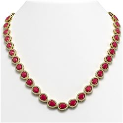 45.93 CTW Ruby & Diamond Halo Necklace 10K Yellow Gold - REF-674X2T - 41047