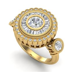 2.62 CTW VS/SI Diamond Solitaire Art Deco 3 Stone Ring 18K Yellow Gold - REF-416F4N - 37090