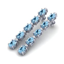 8.36 CTW Aquamarine & VS/SI Certified Diamond Tennis Earrings 10K White Gold - REF-91W3F - 29388