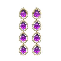 7.85 CTW Amethyst & Diamond Halo Earrings 10K Yellow Gold - REF-136A2X - 41179