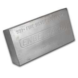 One piece 100 oz 0.999 Fine Silver Bar Engelhard-69621