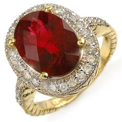 5.50 CTW Rubellite & Diamond Ring 14K Yellow Gold - REF-182X8T - 10980