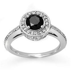 1.75 CTW VS Certified Black & White Diamond Ring 14K White Gold - REF-100F2N - 11864
