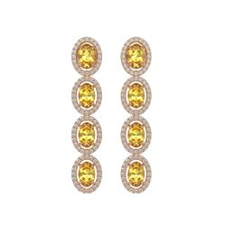 5.4 CTW Fancy Citrine & Diamond Halo Earrings 10K Rose Gold - REF-102K2W - 40545