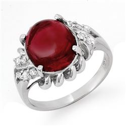 4.25 CTW Garnet & Diamond Ring 10K White Gold - REF-29A6X - 13321