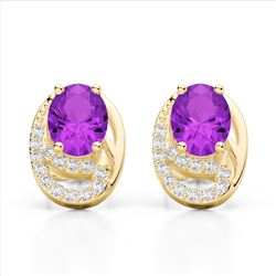2.50 Amethyst & Micro Pave VS/SI Diamond Stud Earrings 10K Yellow Gold - REF-25T6M - 22324