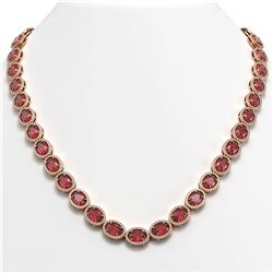 49.46 CTW Tourmaline & Diamond Halo Necklace 10K Rose Gold - REF-763T6M - 40572