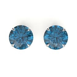 4 CTW London Blue Topaz Designer Solitaire Stud Earrings 18K White Gold - REF-30N2Y - 21829