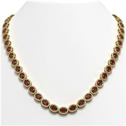 32.82 CTW Garnet & Diamond Halo Necklace 10K Yellow Gold - REF-501K3W - 40447
