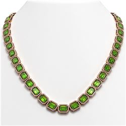 57.3 CTW Peridot & Diamond Halo Necklace 10K Rose Gold - REF-819T6M - 41358