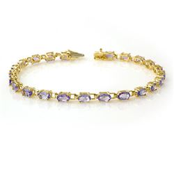 5.0 CTW Tanzanite Bracelet 10K Yellow Gold - REF-52A9X - 13455